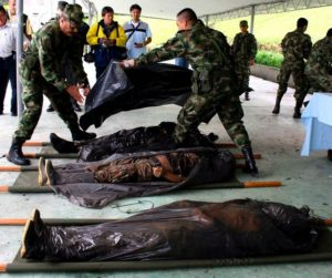 Colombia - Dead bodies of four presumed FARC guerrilla members