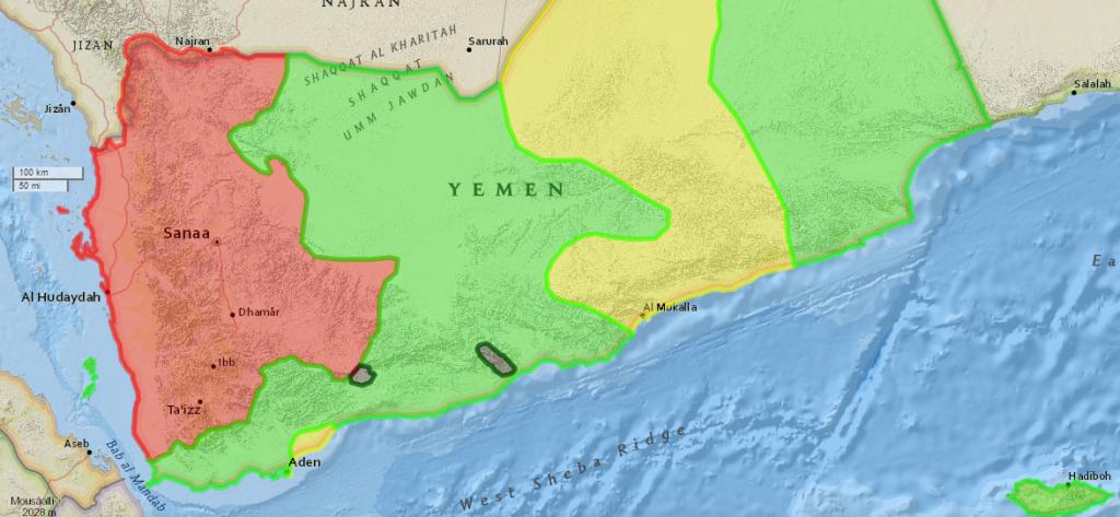 Crveno: Huti, Ansaralah; zeleno: prosaudijske snage oborenog predsednika Hadija; žuto: al-Kaida; crno: Islamska Država