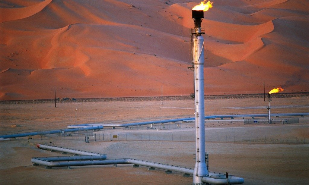 Gas Burn Off at Oil Field in Saudi Arabia
